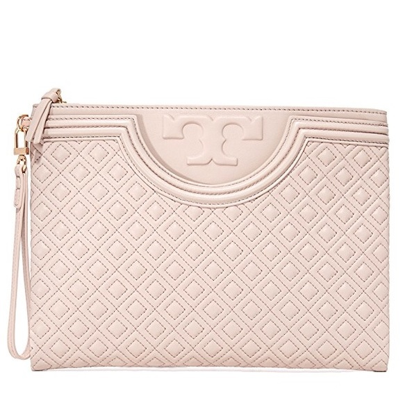 5d3b702f909 Tory Burch Fleming Large Zip Pouch Bedrock